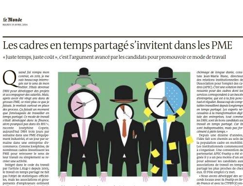 Le Travail en Temps Partagé, «Le Monde» en parle !