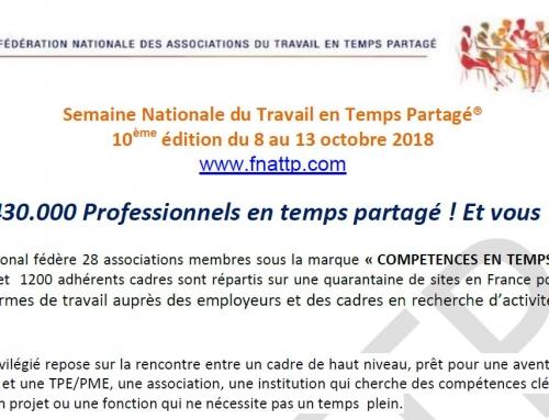 10ème Semaine Nationale du Travail en Temps Partagé du 8 au 13 octobre 2018
